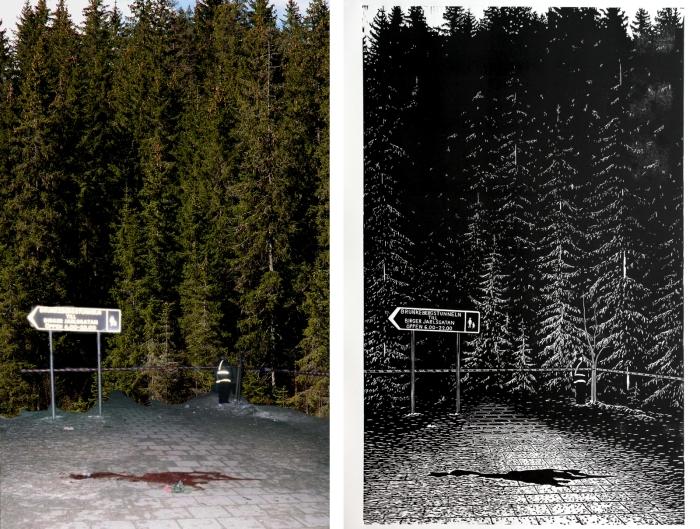 I arbeidet med sine møysommelig utførte tresnitt benytter Härenstam enkle  fotocollager som utgangspunkt.