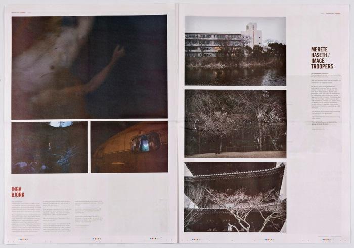 Oppslag i første utgave av Uncertain States Scandinavia med arbeider av Inga Björk.