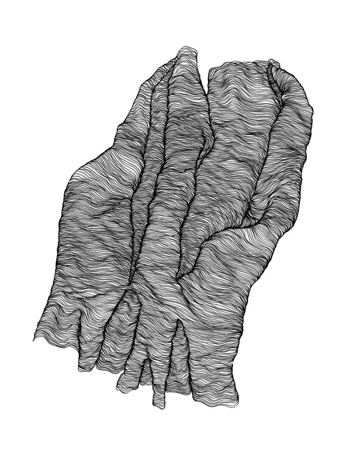 Allerede under studietiden på Oslo Fotokunstskole utviklet Åsne detaljerte strektegninger på papir. Bildet viser et av Åsnes nyere verk.